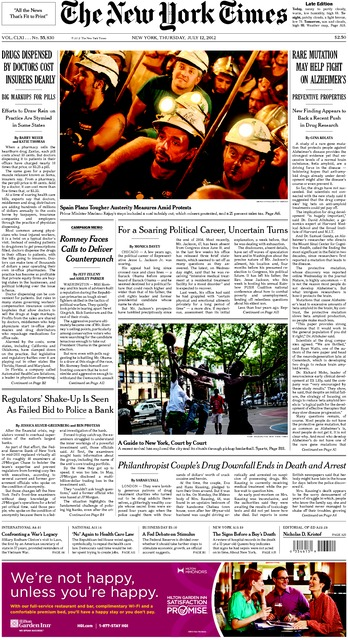 nytimes Front page on Spanish miners strike